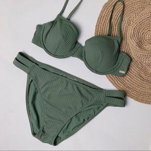 ROXY Olive Ribbed Two Piece Underwire Bikini